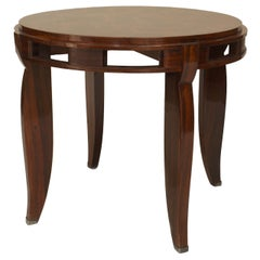 French Art Deco Rosewood and Silver End Table, Attributed to Leleu