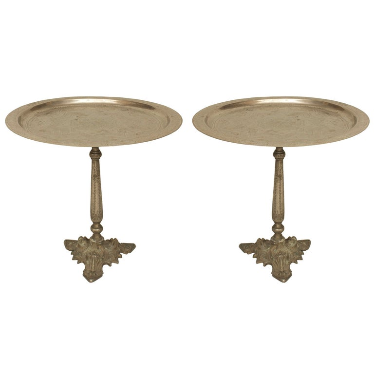 Pair of Egyptian Style Silver and Bronze Compotes For Sale