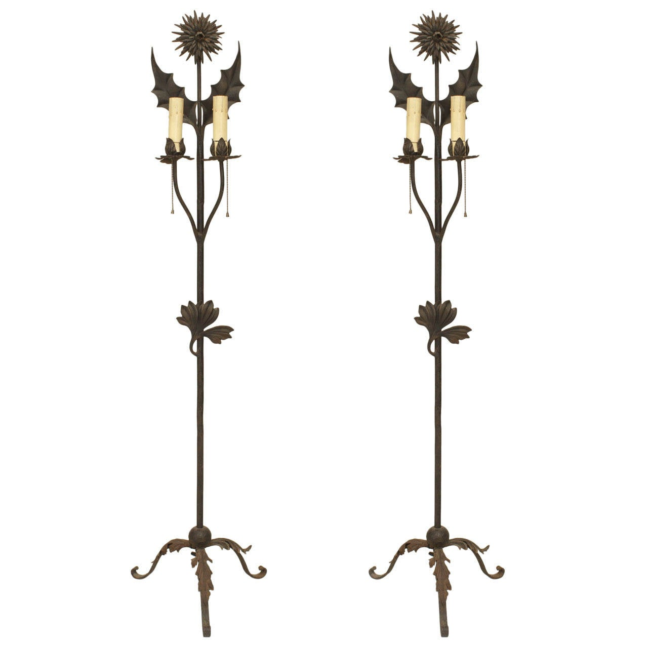 Pair of English Aesthetic Movement Wrought Iron Floor Torchieres
