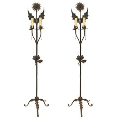 Pair of English Aesthetic Wrought Iron Floral Floor Lamps