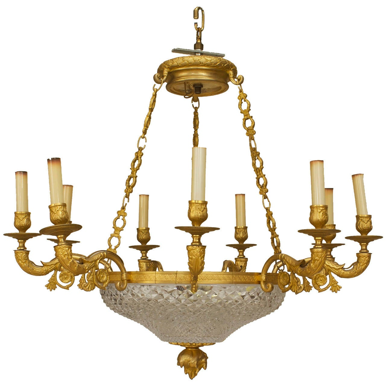Late 19th c. French Empire Style Gilt Bronze and Crystal Chandelier
