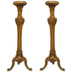 Pair of 19th c. French Louis XV Style Gilt Pedestals