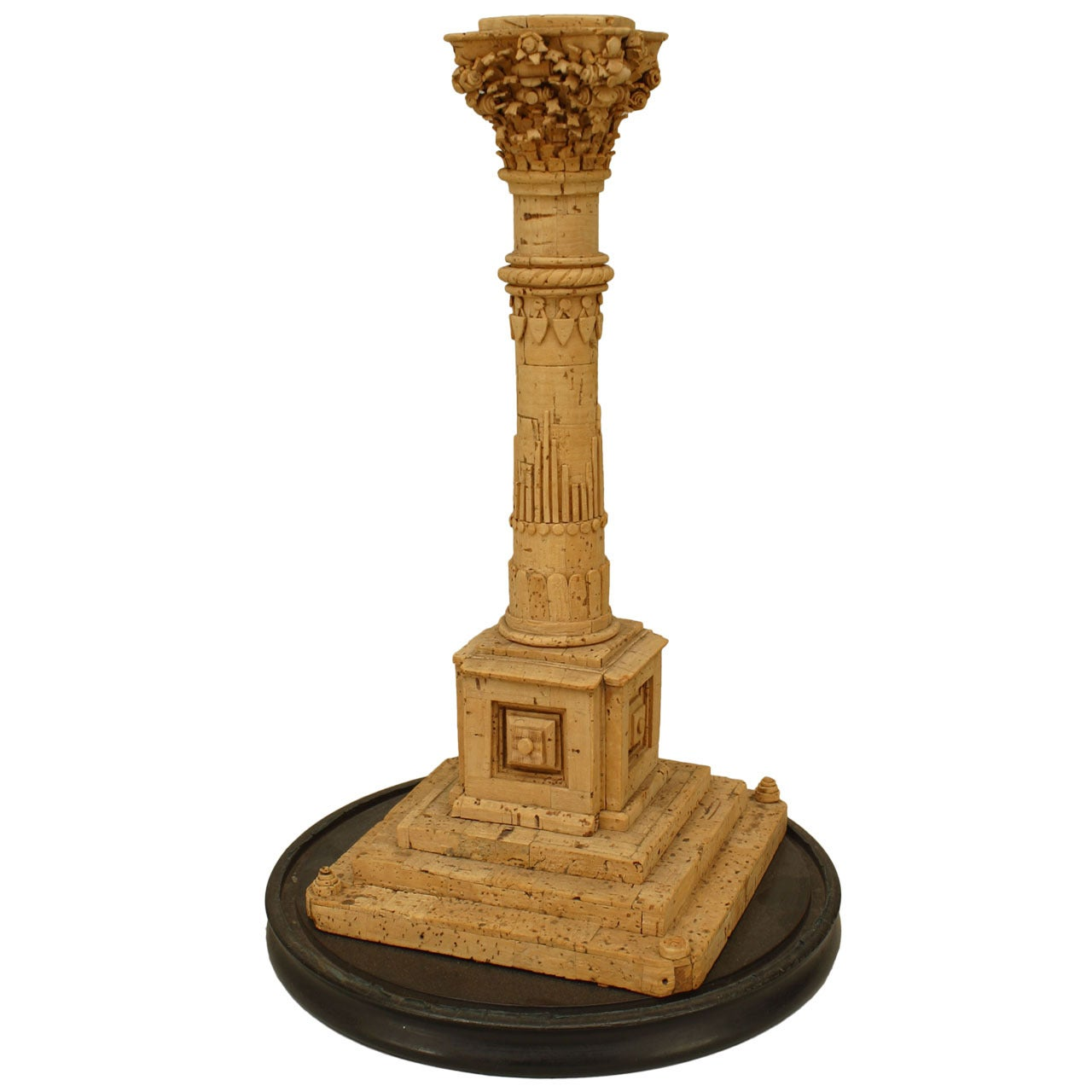 19th Century Italian Neoclassical Carved Cork Column Sculpture