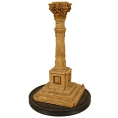 19th Century Italian Neoclassical Carved Cork Column Sculpture