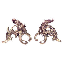 Pair of 20th c. French Louis XV Style Monkey Andirons