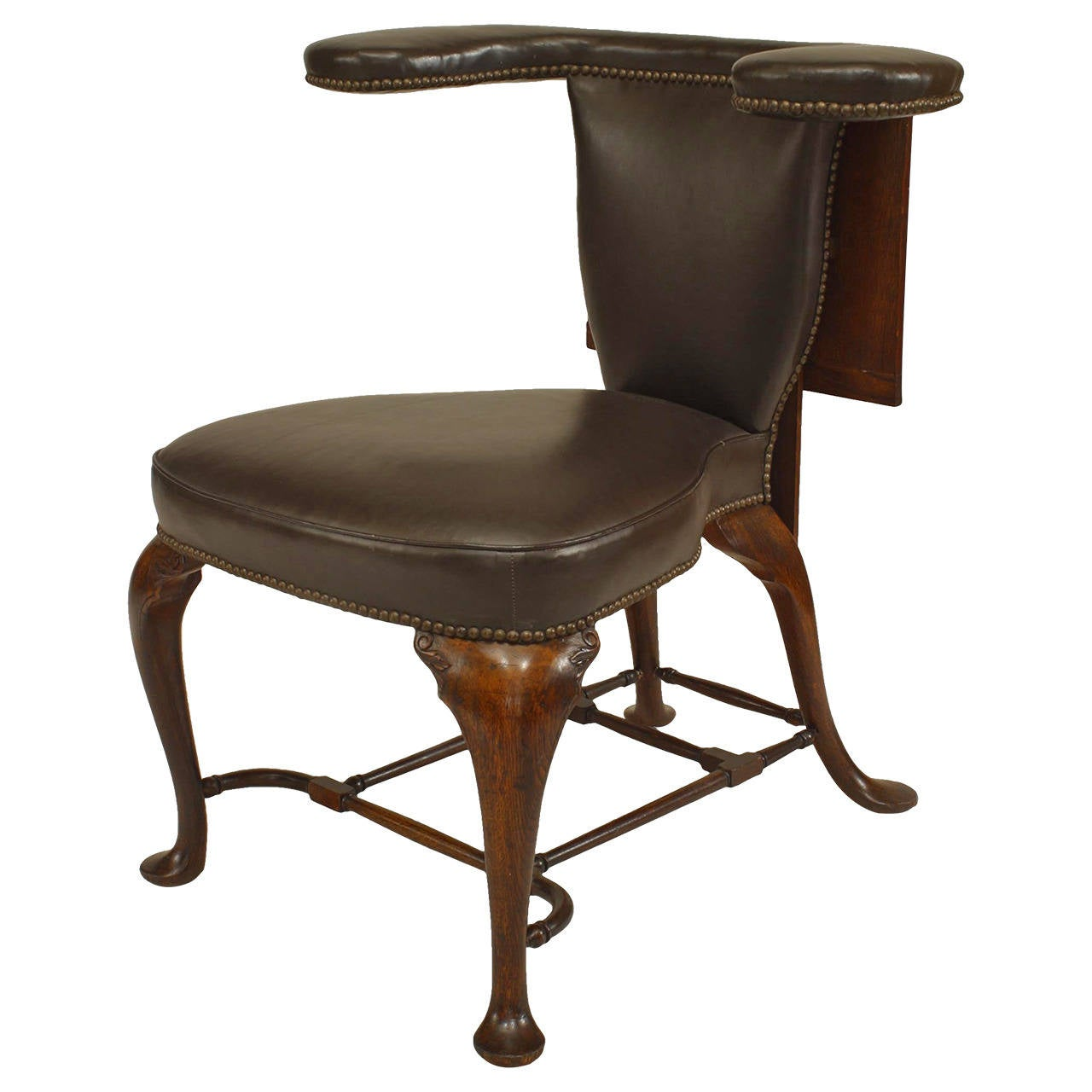 Remarkable 19Th Century English Queen Anne Style Leather Upholstered Reading Chair Caraccident5 Cool Chair Designs And Ideas Caraccident5Info