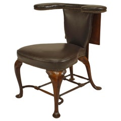 19th Century English Queen Anne Style Leather, Upholstered Reading Chair