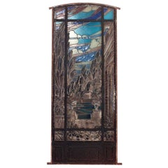 19th Century Stained and Leaded Glass Landscape Window