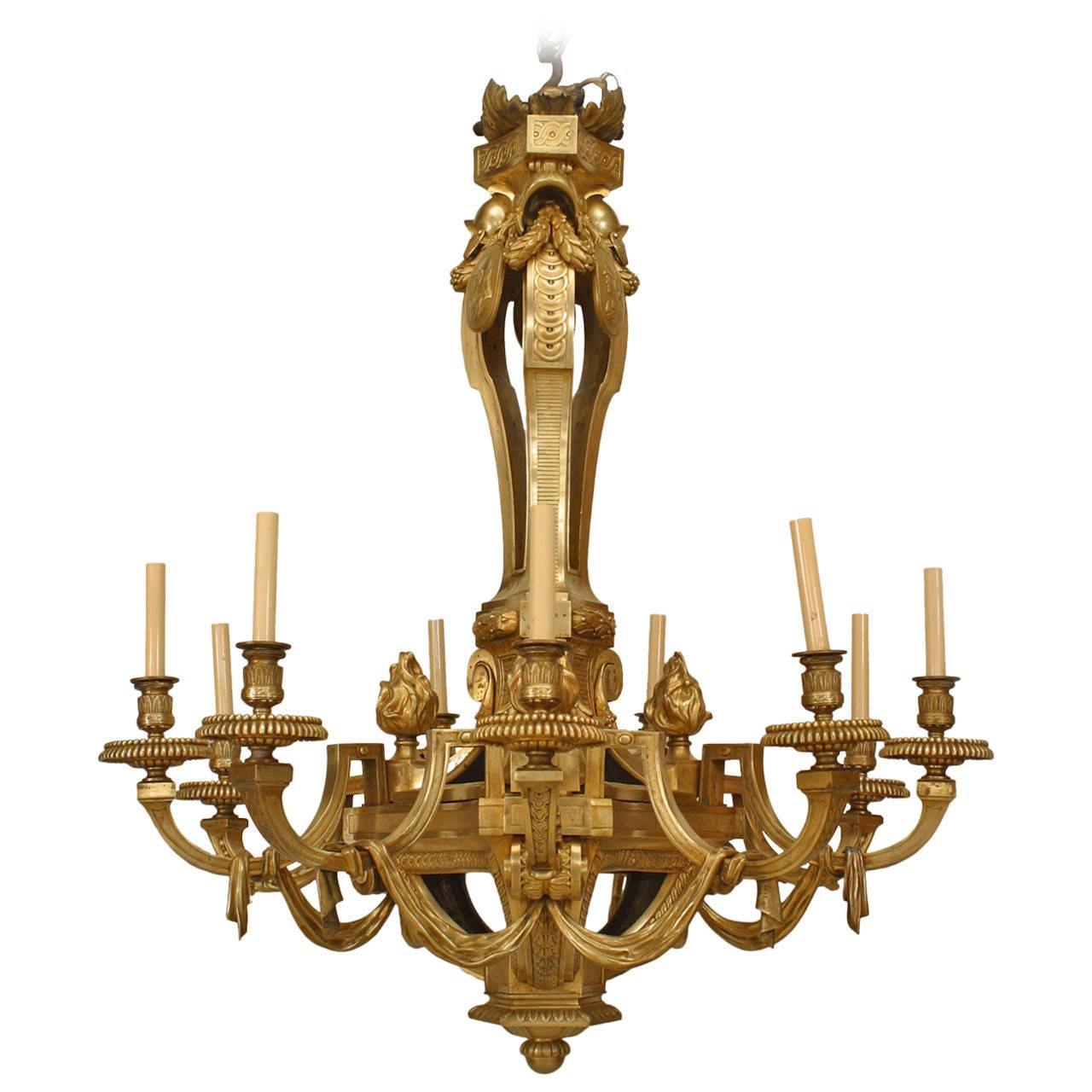 Important 19th Century French Louis XVI Style Bronze Dor Twelve – French Style Chandelier