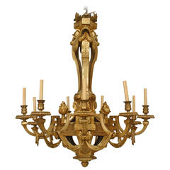 Important 19th Century French Louis XVI Style, Bronze Doré Twelve-Arm Chandelier