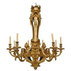 Important 19th Century French Louis XVI Style, Bronze Doré Twelve-Arm Chandelier