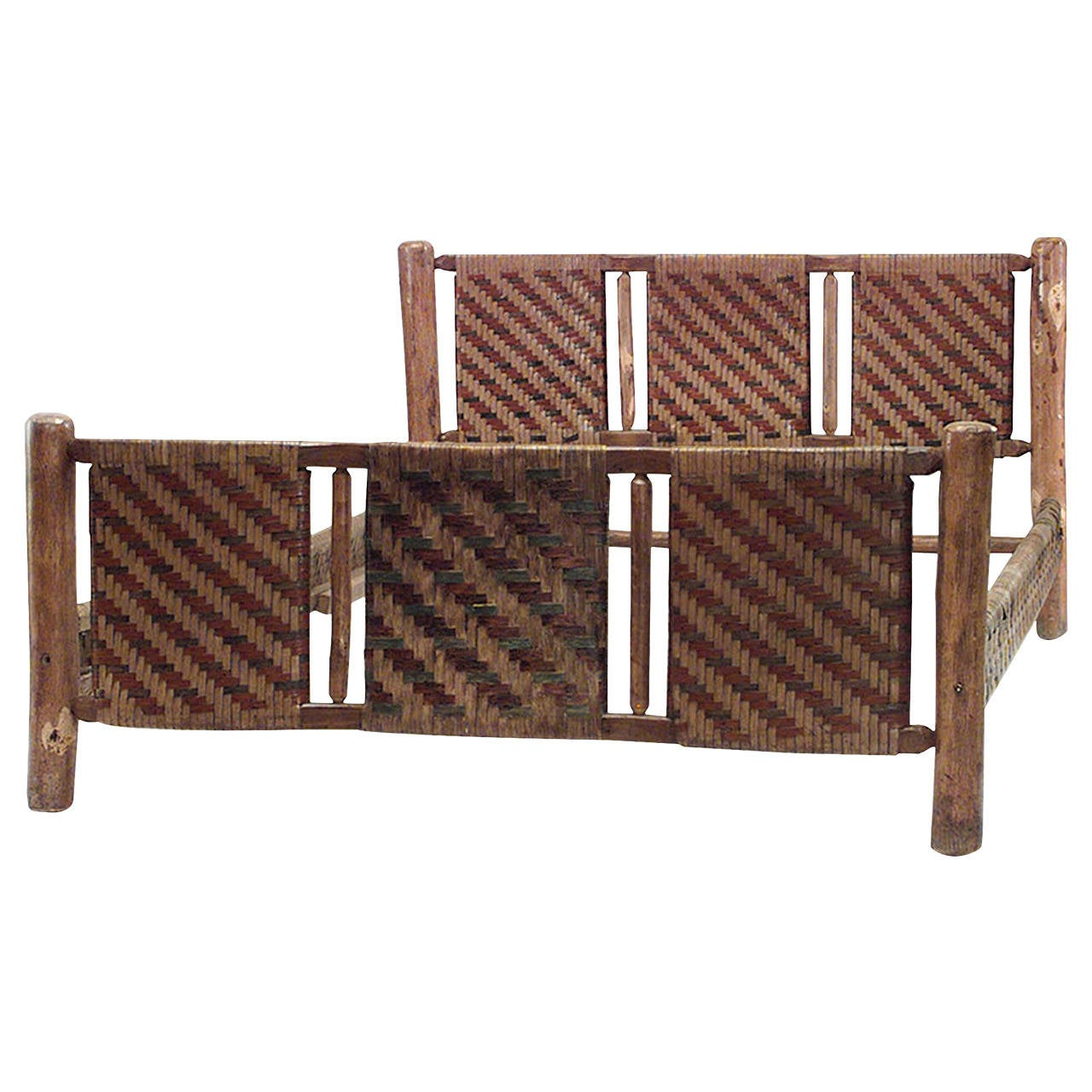 20th c american old hickory woven design bed for sale at 1stdibs American home furniture bed frames