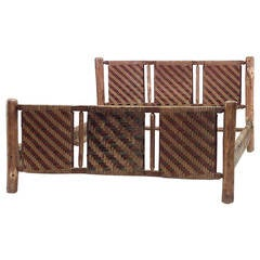 20th c. American Old Hickory Woven Design Bed