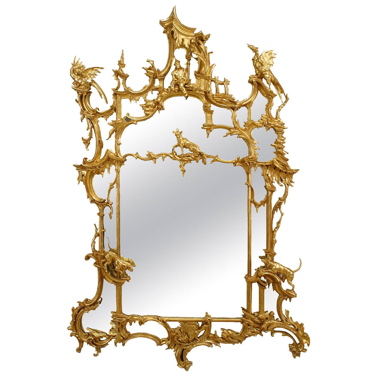 19th Century English Chinese Chippendale Style Mirror