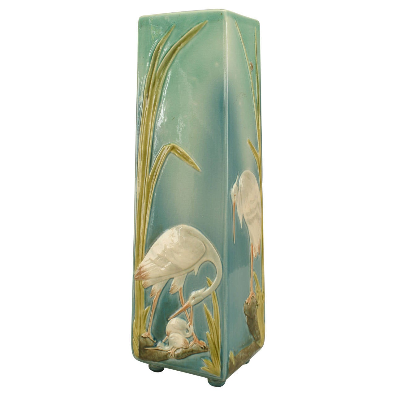 Turn of the Century French Sarreguemines Vase with Floral and Aviary Designs
