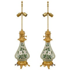 Pair of 19th c. French Ormolu-Mounted Porcelain Lamps