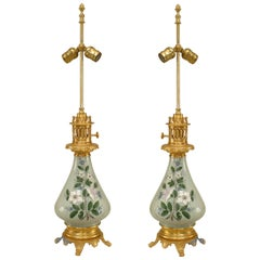 French Victorian Porcelain Celadon Table Lamps