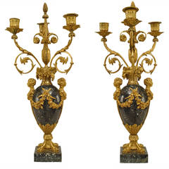 Pair of 1879 French Ormolu-Trimmed Marble Candelabrum by Henry Dasson