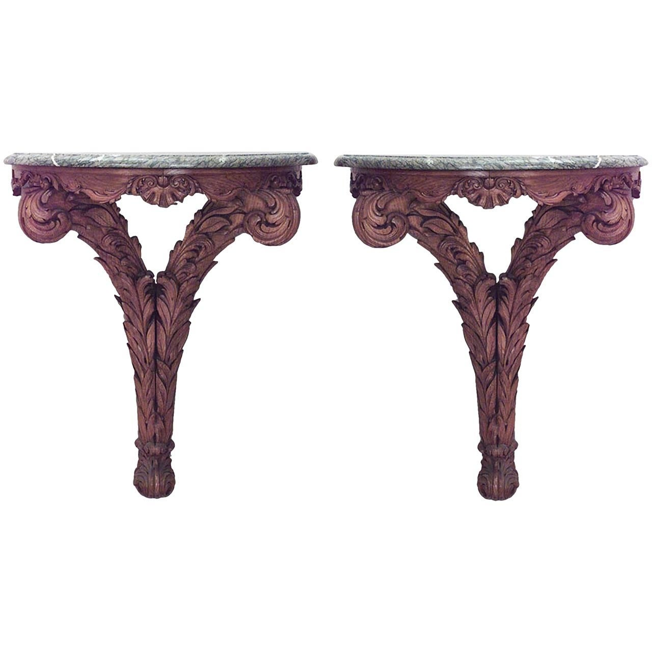 Pair of 19th c. Italian Neoclassical Marble Top Bracket Consoles