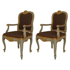 Pair of 18th Century Italian Neoclassical Gilt Carved and Painted Armchairs