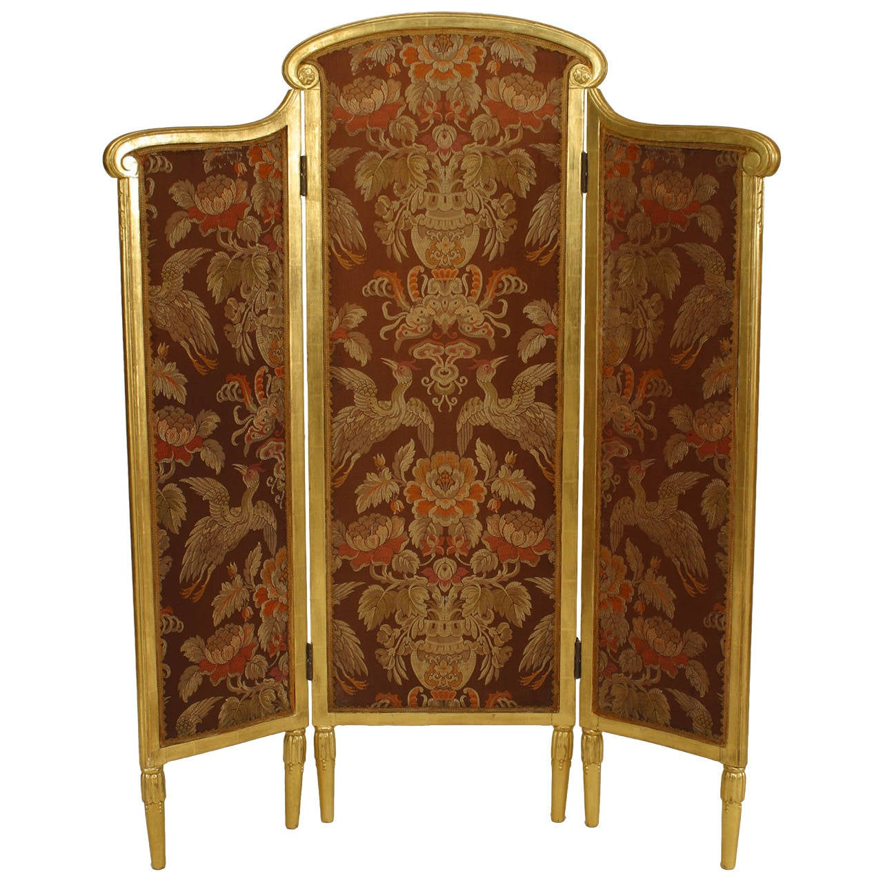 French Folding Screens : French art deco giltwood folding screen attributed to sue