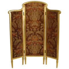 French Art Deco Giltwood Folding Screen, Attributed to Sue et Mare