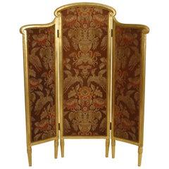 French Art Deco Gilt-wood Folding Screen, Attrib. to Sue et Mare