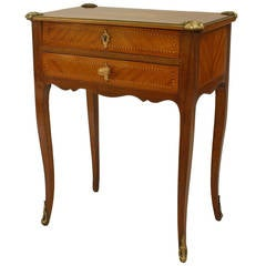 19th c. French Louis XV Style Kingwood End Table or Small Desk
