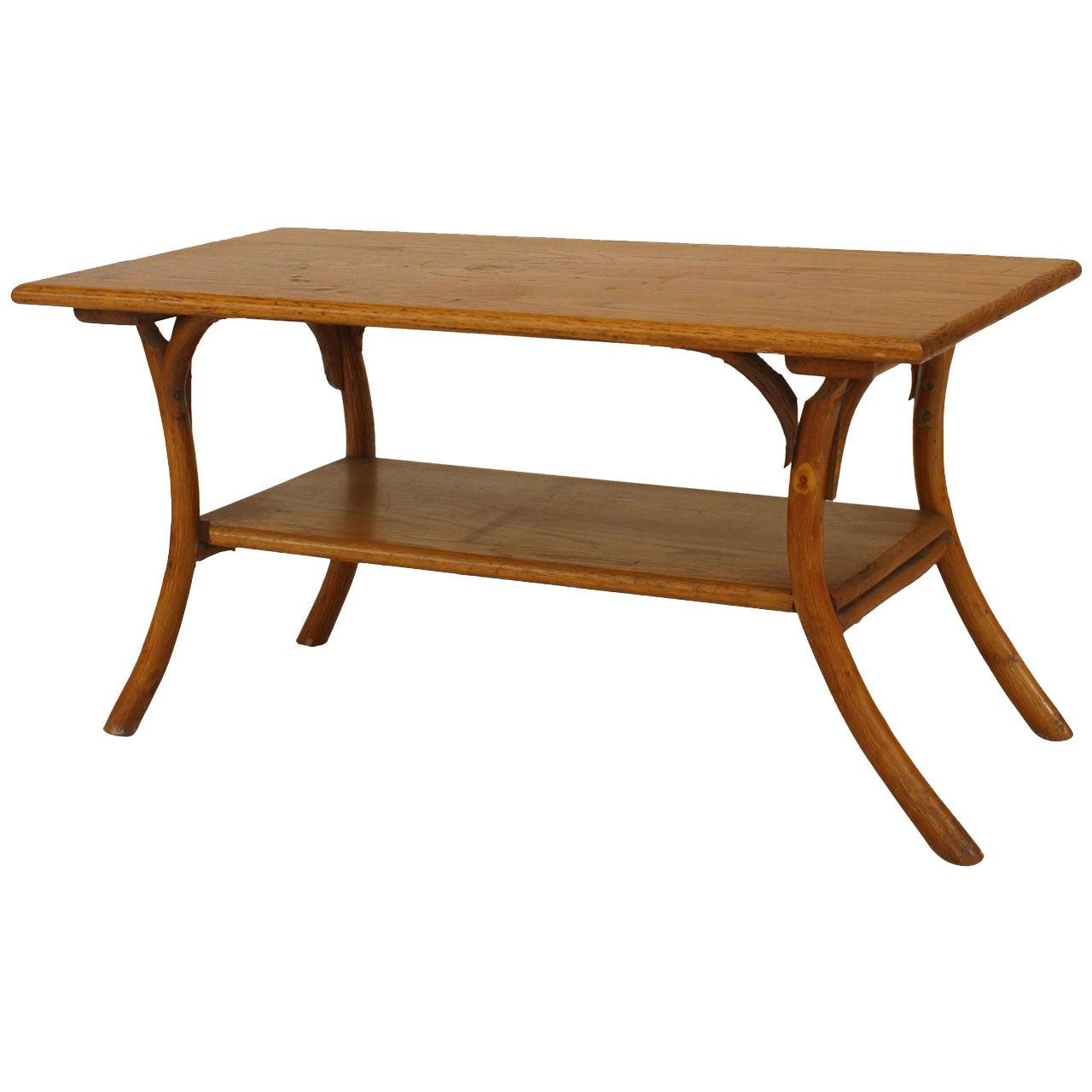 1940's or 1950's American Rustic Oak Coffee Table