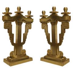 Pair of American Art Deco Bronze Candelabrum