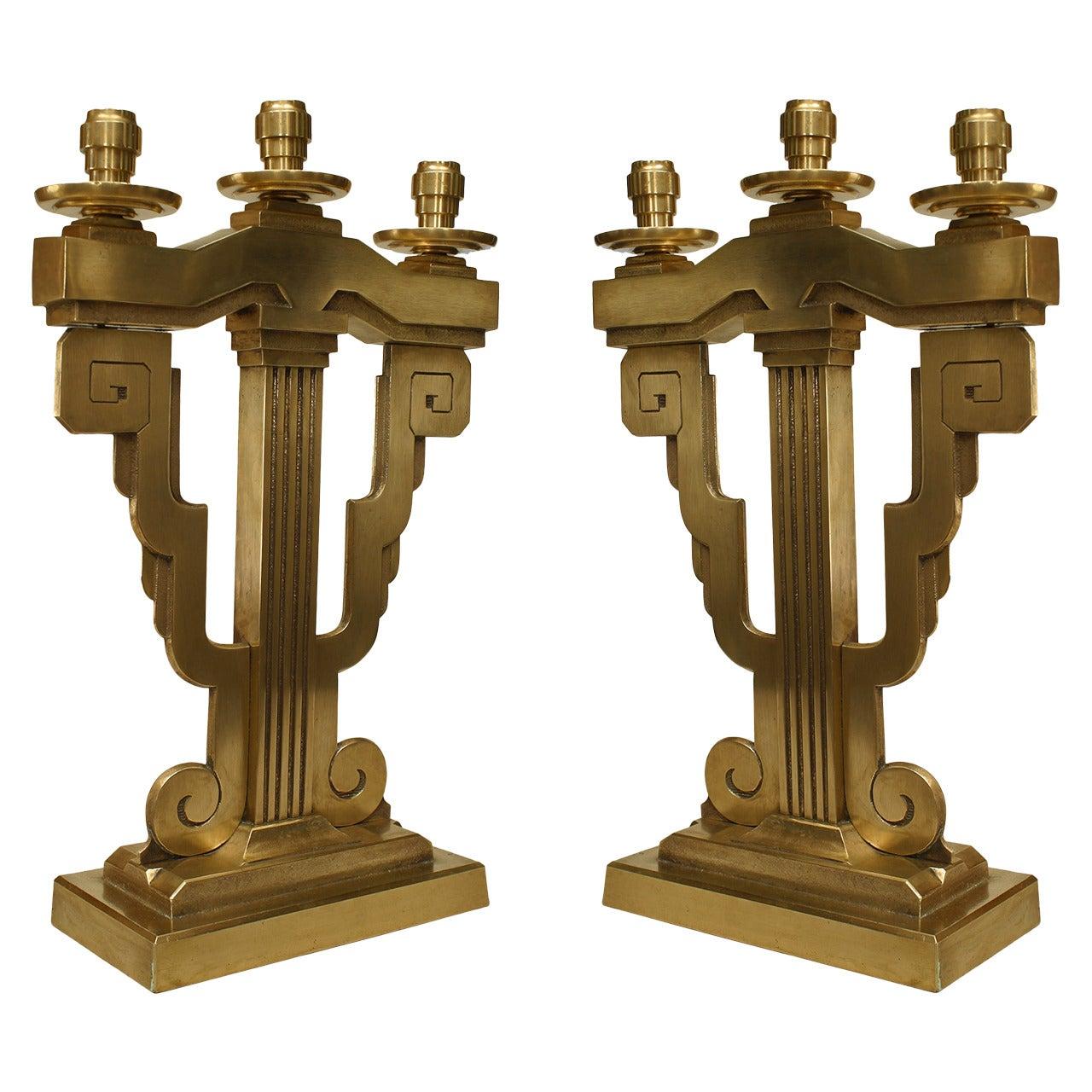 Pair of American Art Deco Bronze Candelabras