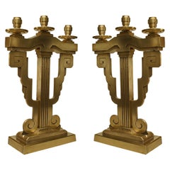 Pair of American Art Deco Bronze Candelabrum