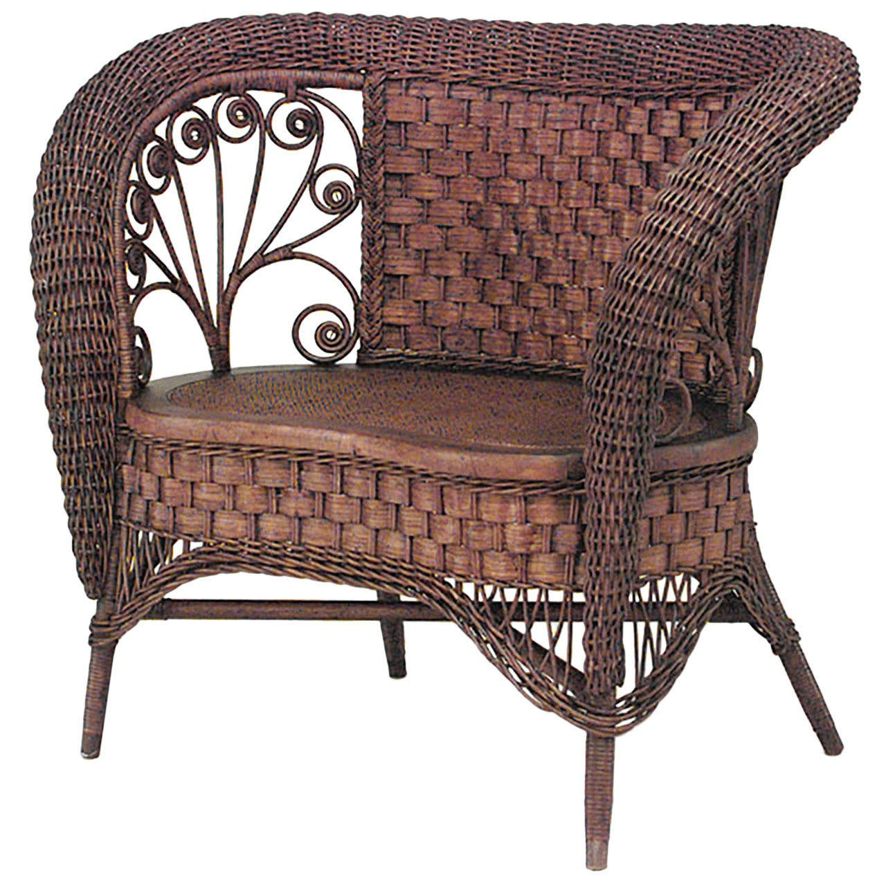 19th c. American Small Wicker Loveseat, Attributed to Heywood-Wakefield