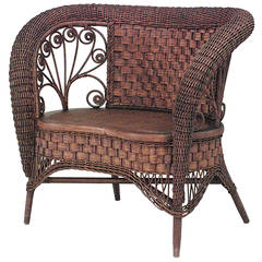 19th c. American Small Wicker Loveseat Attributed to Heywood-Wakefield