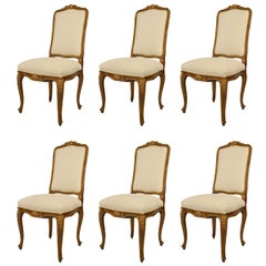 Set of 6 Turn of the Century French Louis XV Style High Back Side Chairs