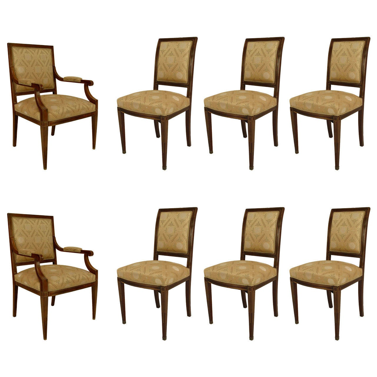 Set of 8 19th c. Continental Baltic Upholstered Mahogany Chairs