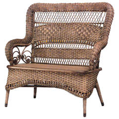19th c. American Natural Wicker Loveseat, by Larkin & Co.