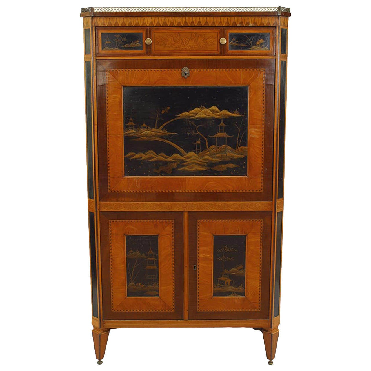 Turn of the 19th Cent. Continental Chinoiserie Drop Front Desk