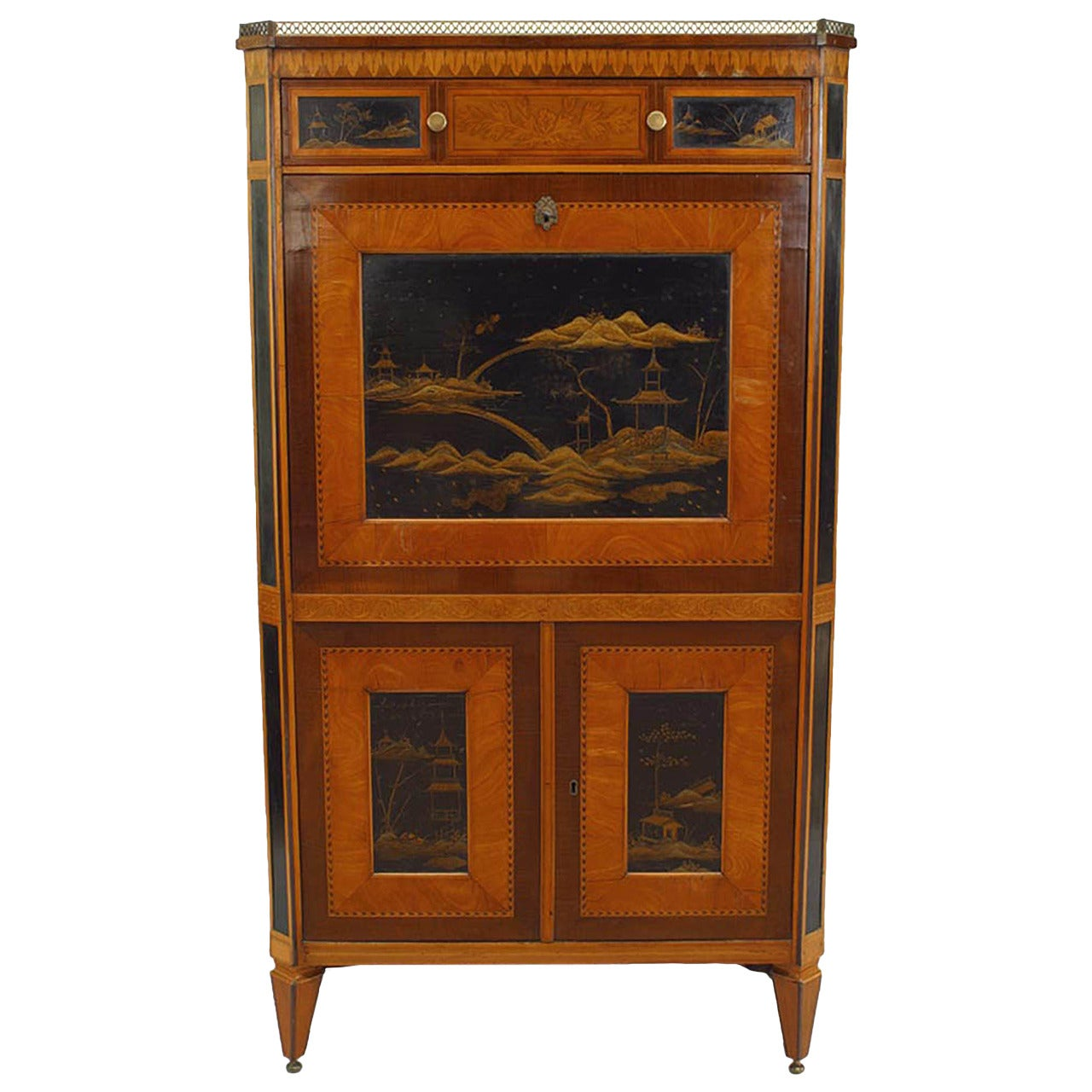 19th Century Continental Chinoiserie Drop Front Desk
