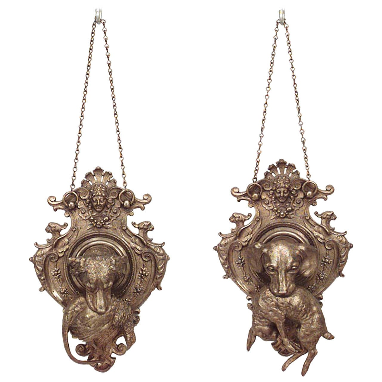Pair of 19th c. French Shaped Bronze Hunt-Themed Wall Plaques