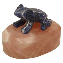 20th c. Lapis Lazuli and Rose Quartz Frog Sculpture