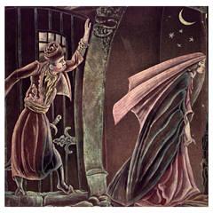 Large Art Deco Painted Velvet Work by Grant Simon, 1928