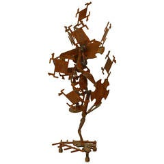 20th c. American Brutalist Rusted Iron Sculpture