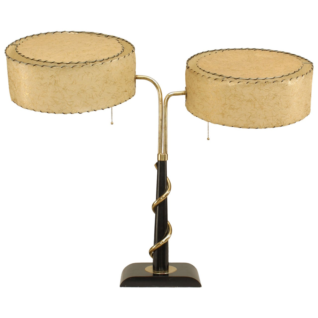 American Mid-century Parchment and Brass Student Lamp
