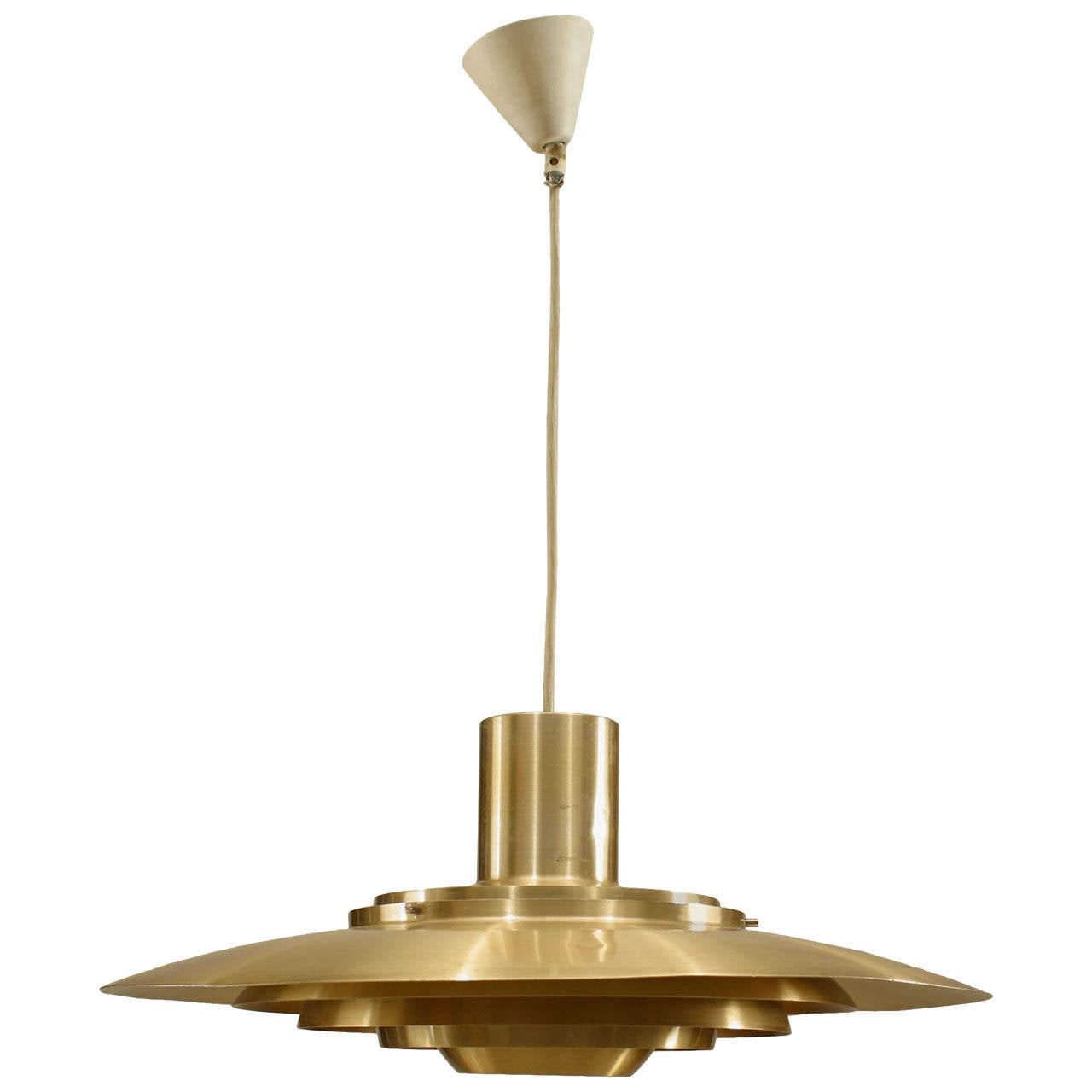 Scandinavian mid century modern brass disc pendant light for Mid century modern pendant light fixtures
