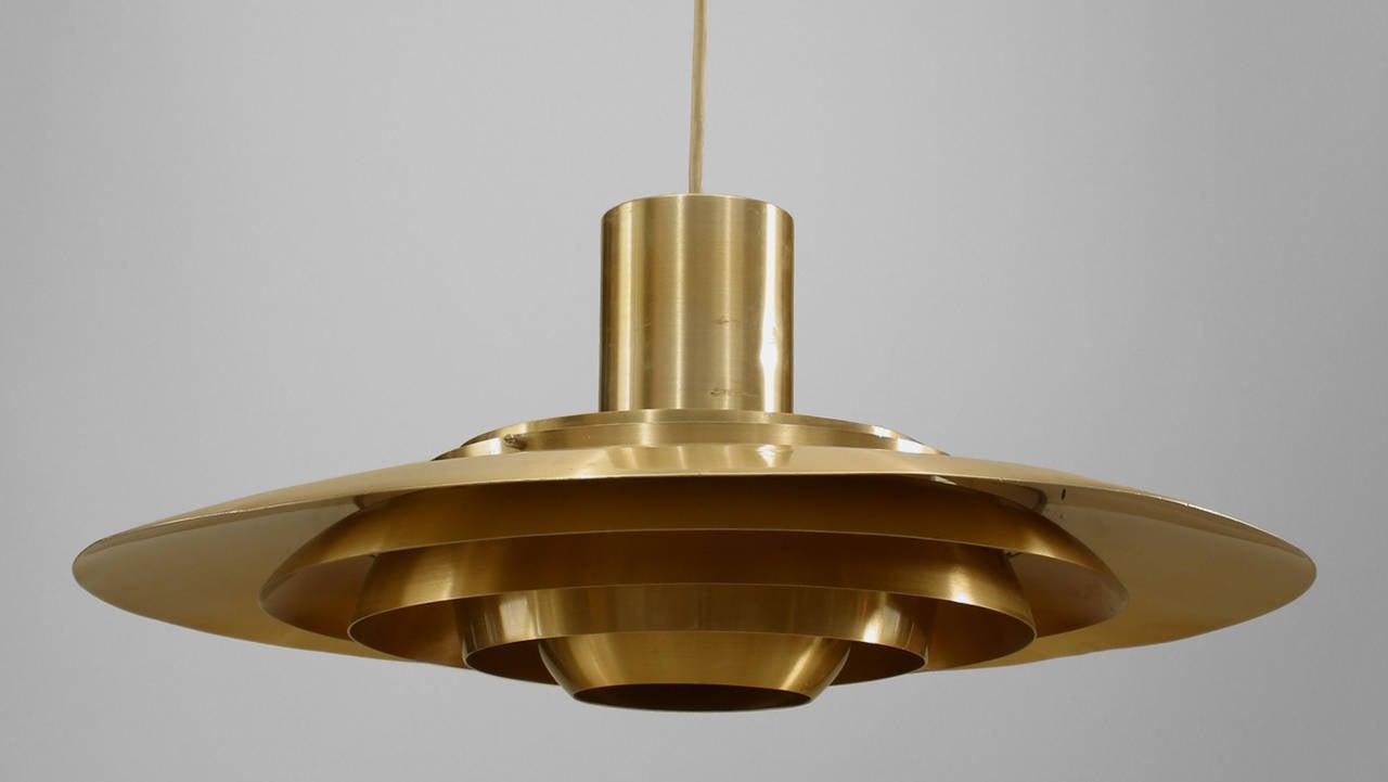 Scandinavian Mid-Century Modern Brass Disc Pendant Light