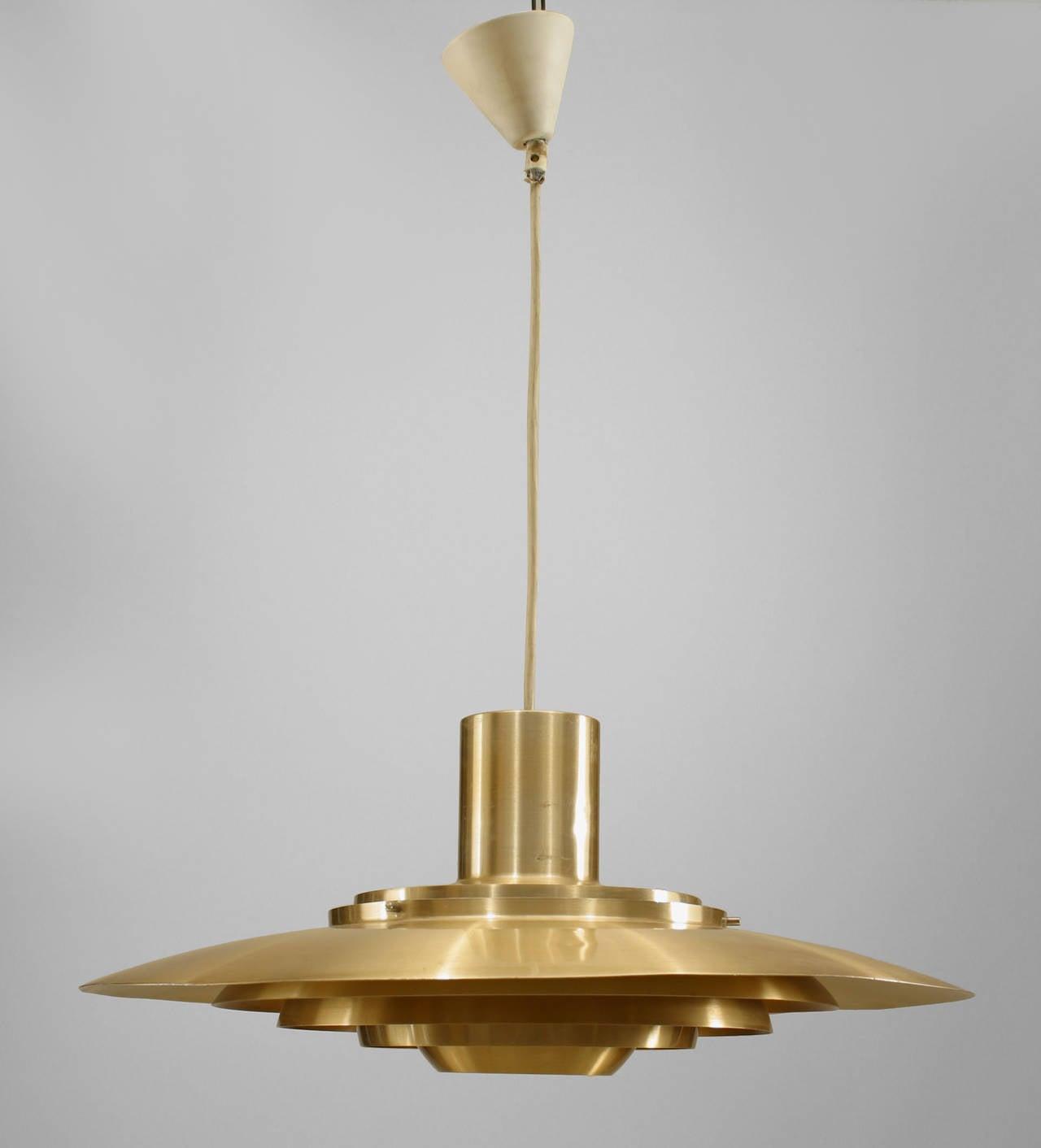 Scandinavian mid century modern brass disc pendant light at 1stdibs scandinavian mid century modern brass disc pendant light 2 arubaitofo Images