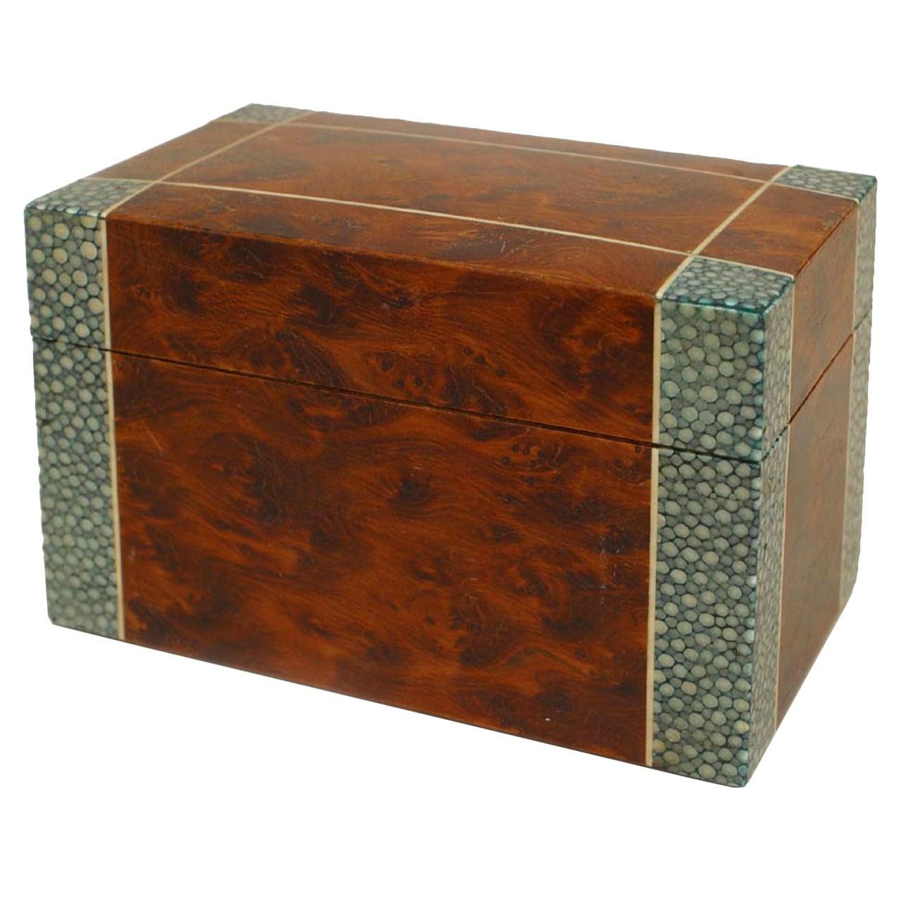 English Art Deco Burl Wood and Shagreen Box