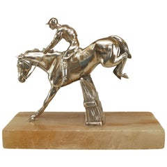 19th c. English Silver-Plated Bronze Horse and Jockey Sculpture