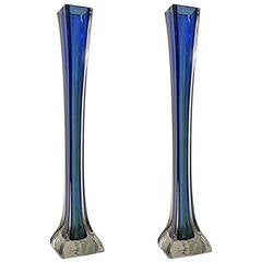 Pair of American Art Deco Tall Blue Glass Vases